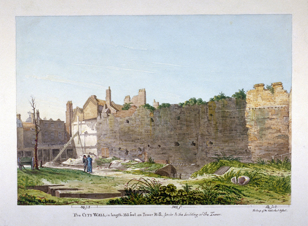 Detail of View of the Wall of London on Tower Hill, London by Robert Blemmell Schnebbelie