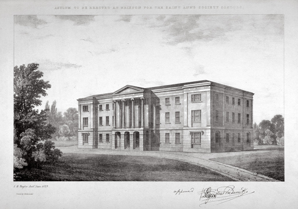 Detail of View of the Royal Asylum of St Ann's Society to be erected on Streatham Hill, London by