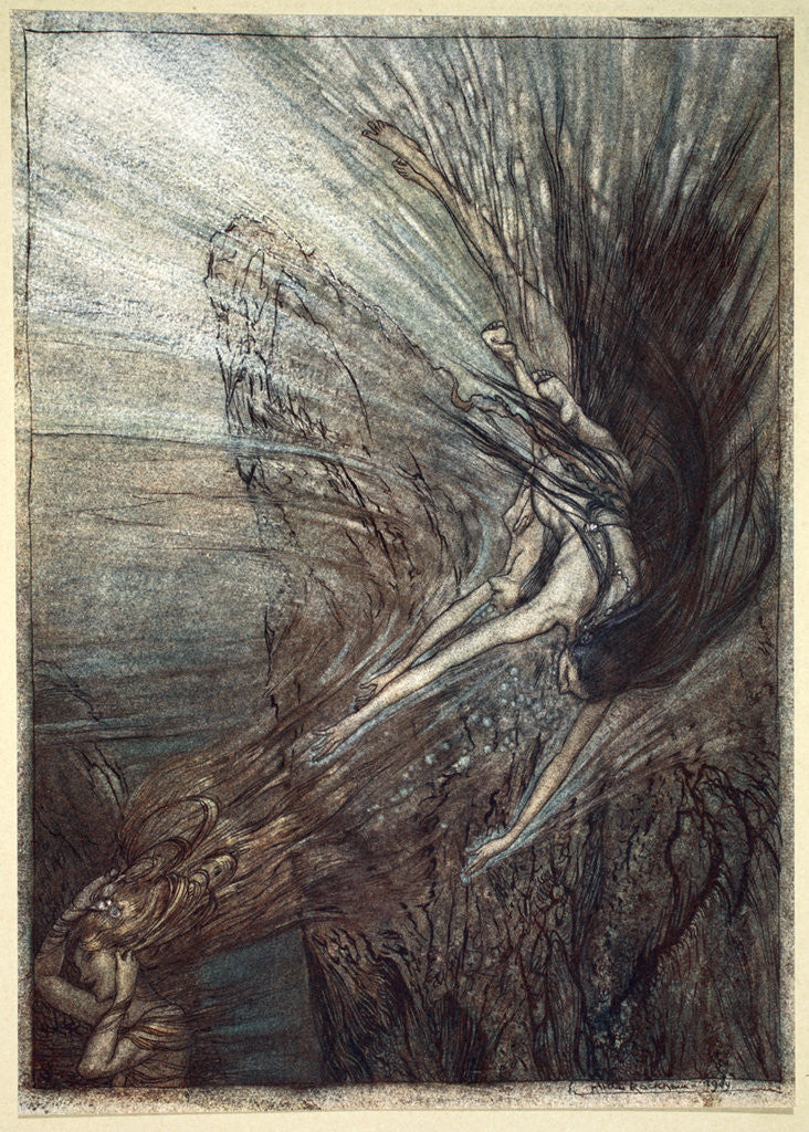 Detail of The frolic of the Rhine-Maidens by Arthur Rackham