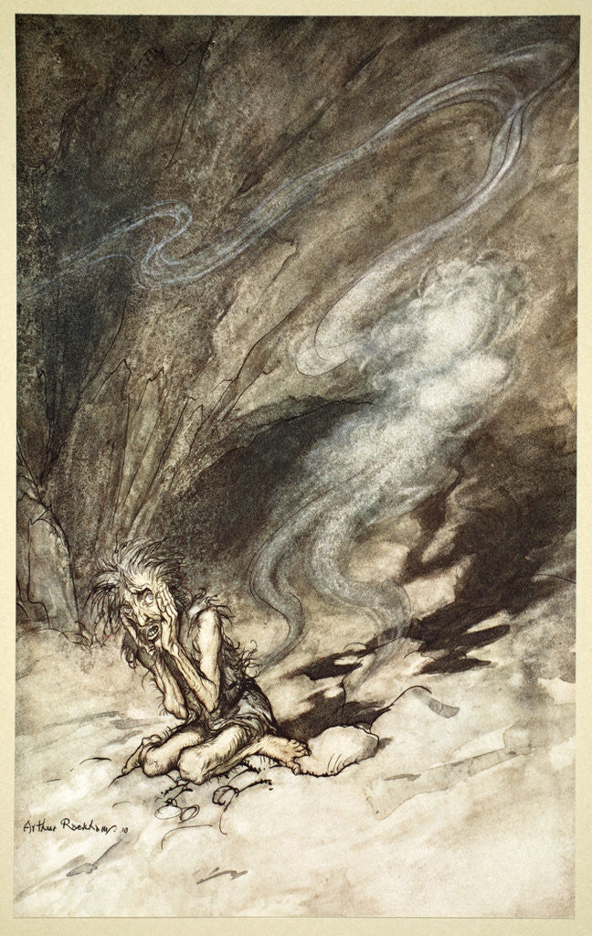 Detail of Mime writhes under the lashes he receives by Arthur Rackham