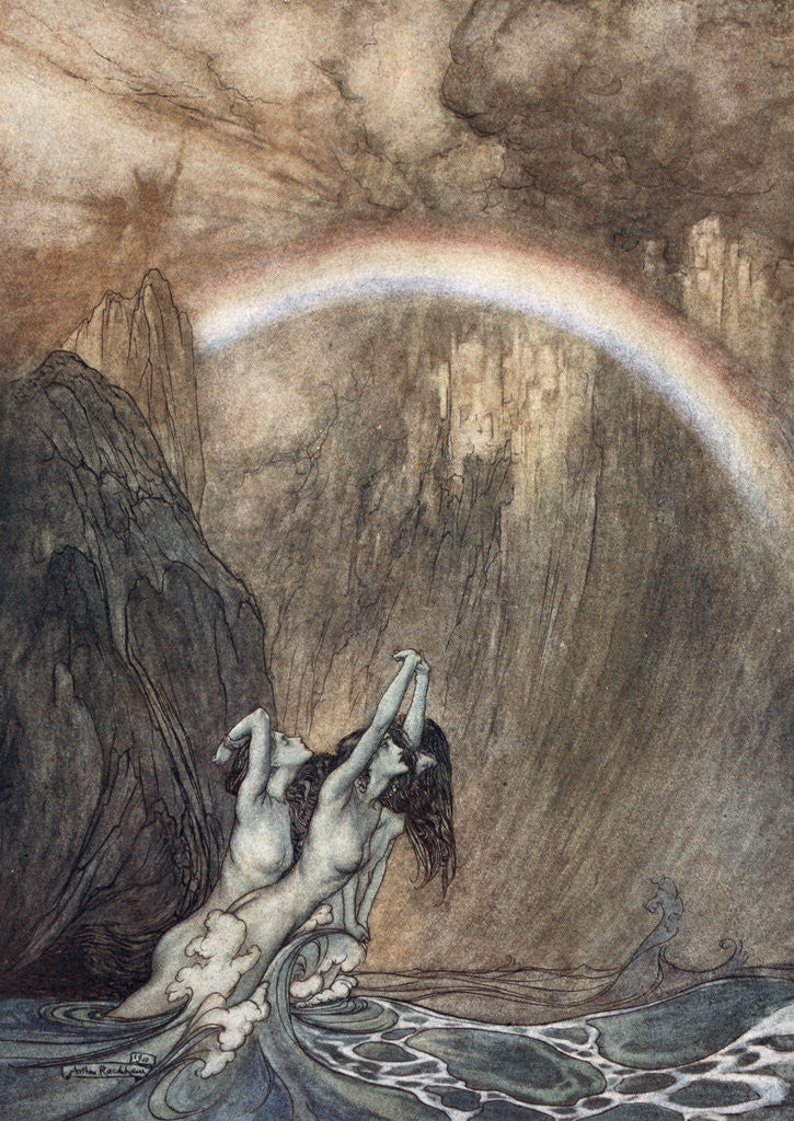 Detail of The Rhine's fair children, Bewailing their lost gold, weep by Arthur Rackham