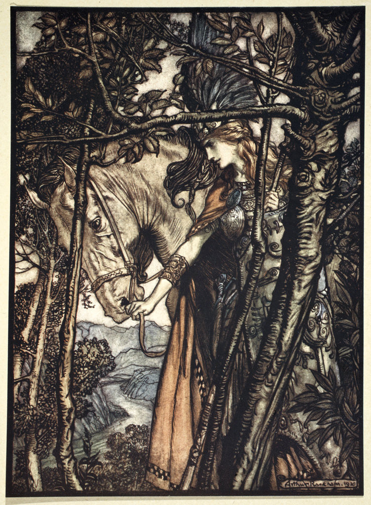 Detail of Brunnhilde slowly and silently leads her horse down the path to the cave by Arthur Rackham