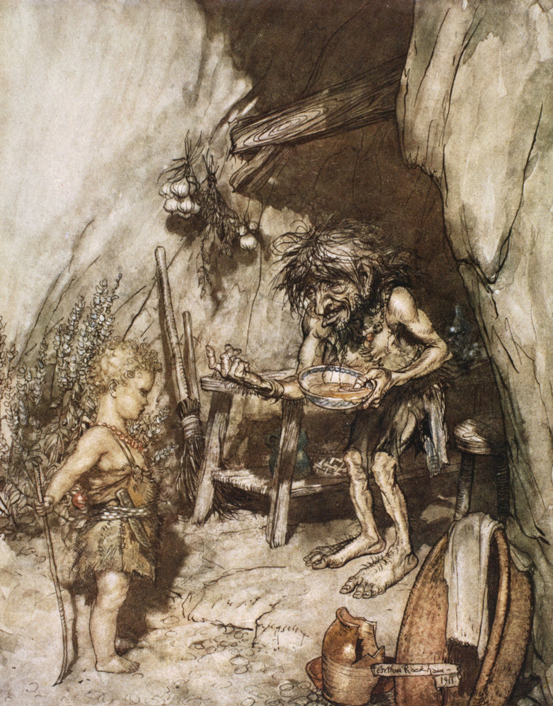 Detail of Mime and the infant by Arthur Rackham