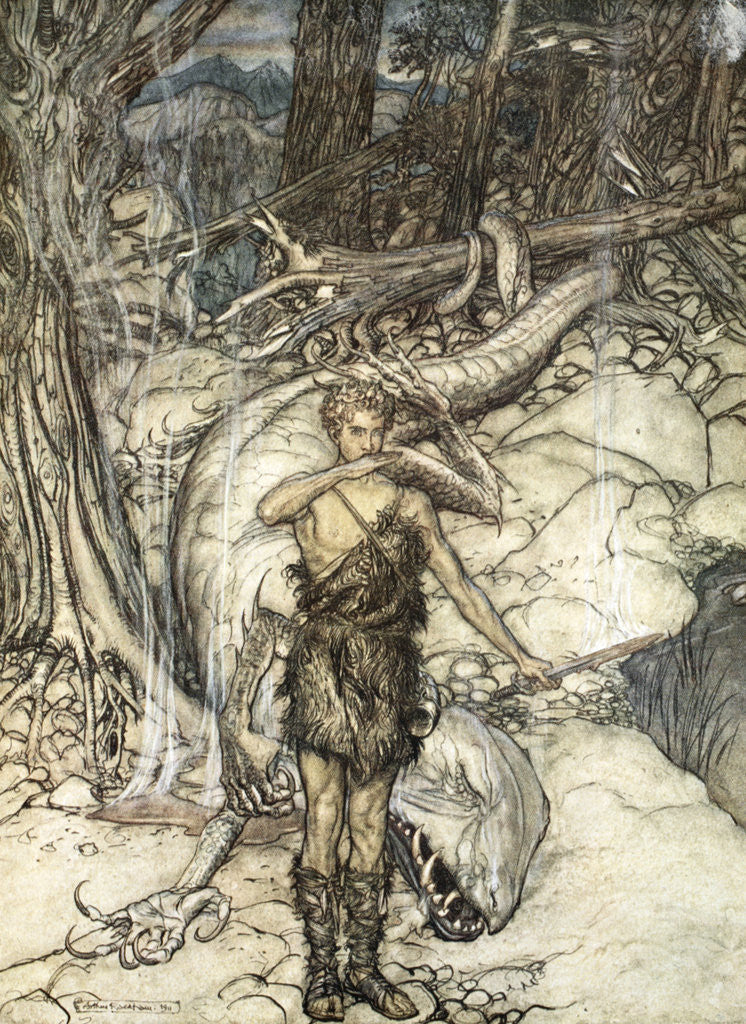 Detail of The hot blood burns like fire! by Arthur Rackham