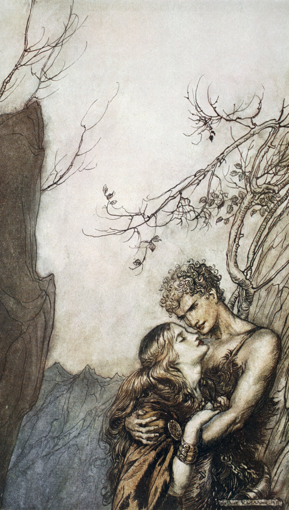 Detail of Brunnhilde throws herself into Siegfried's arms by Arthur Rackham