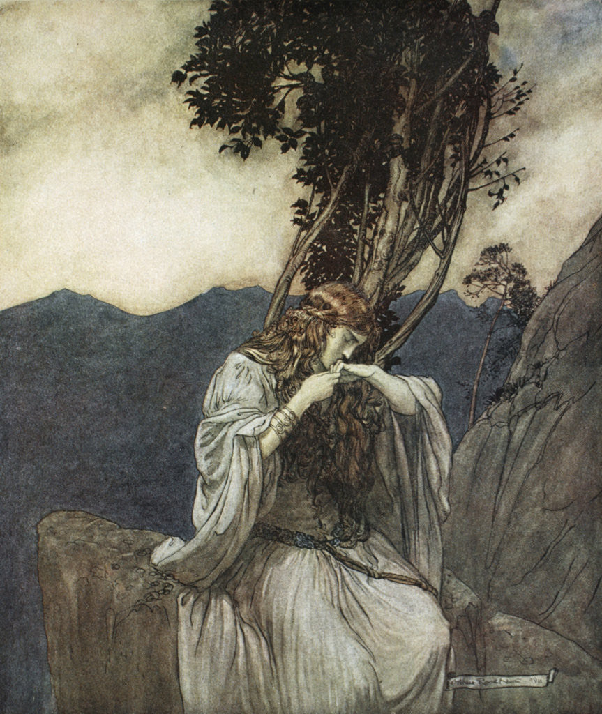 Detail of Brunnhilde kisses the ring that Siegfried has left with her by Arthur Rackham