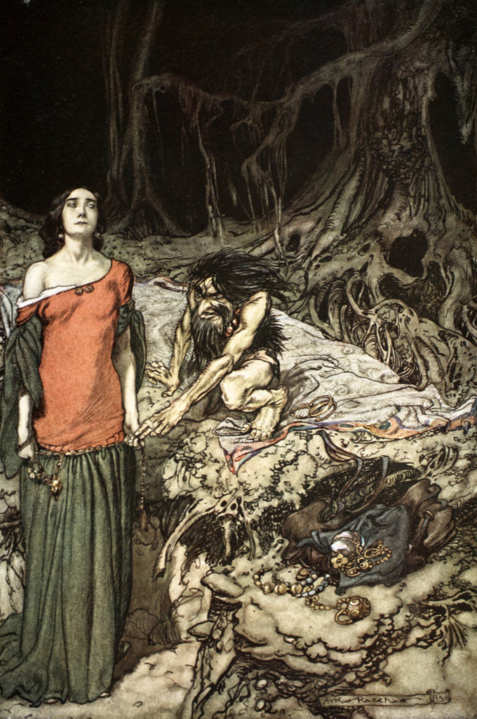 Detail of The wooing of Grimhilde, the mother of Hagen by Arthur Rackham