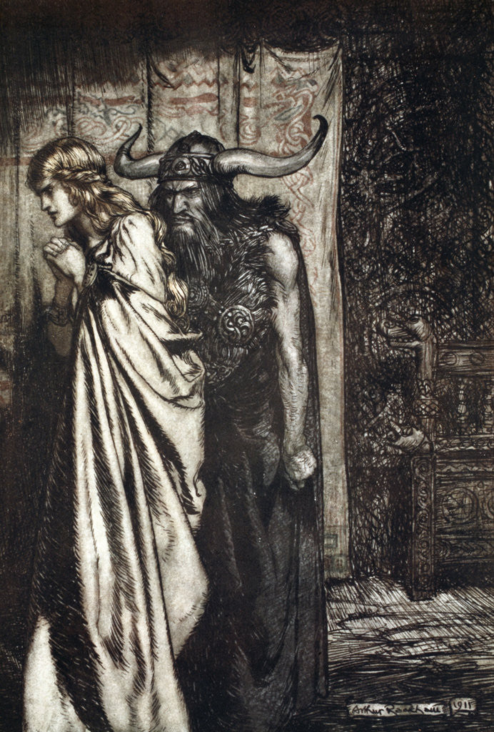 Detail of O wife betrayed I will avenge they trust deceived! by Arthur Rackham
