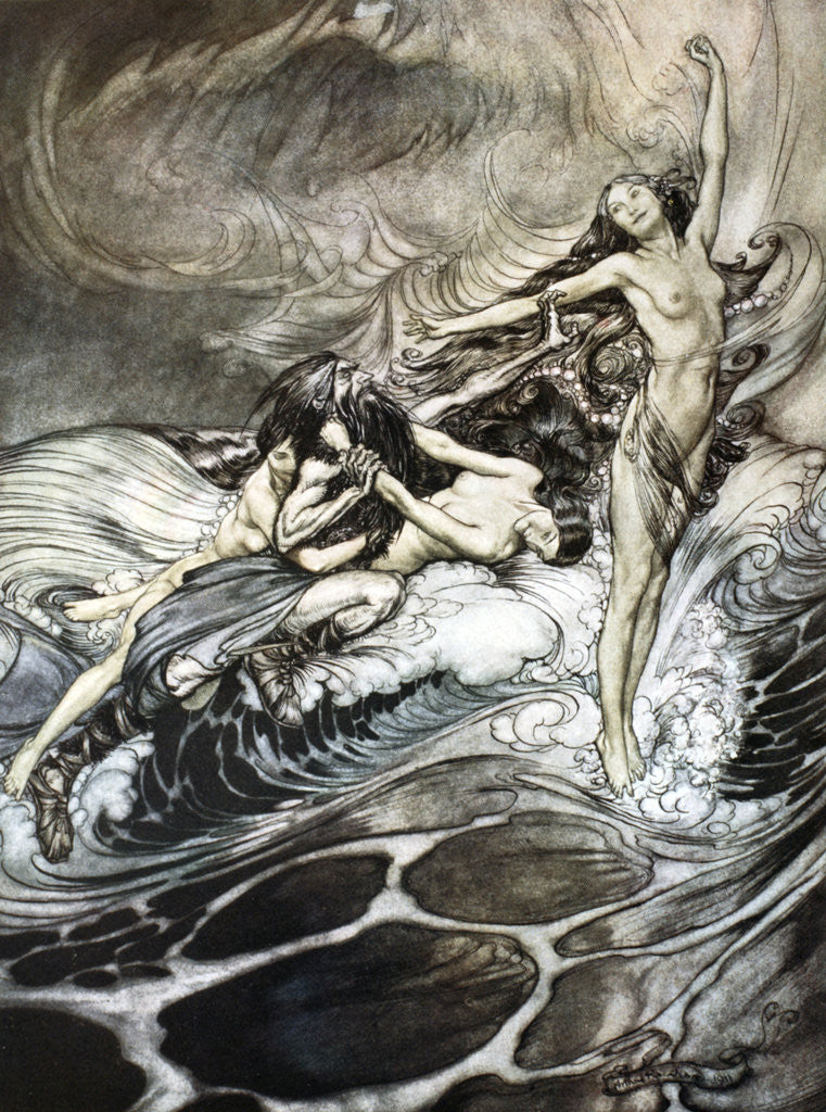 Detail of The Rhine Maidens obtain possession of the ring and bear it off in triumph by Arthur Rackham