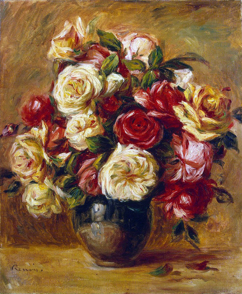 Detail of Bouquet of Roses by Pierre-Auguste Renoir