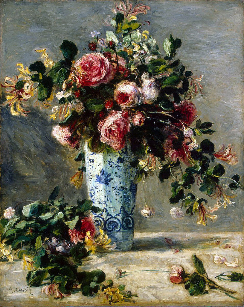 Detail of Roses and Jasmine in a Delft Vase by Pierre-Auguste Renoir