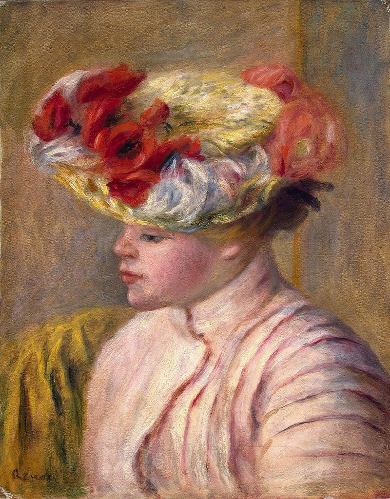 Detail of Young Woman in a Flowered Hat by Pierre-Auguste Renoir