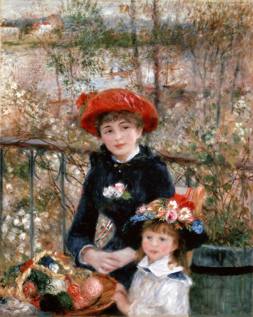 Detail of Two Sisters (On the Terrace) by Pierre-Auguste Renoir