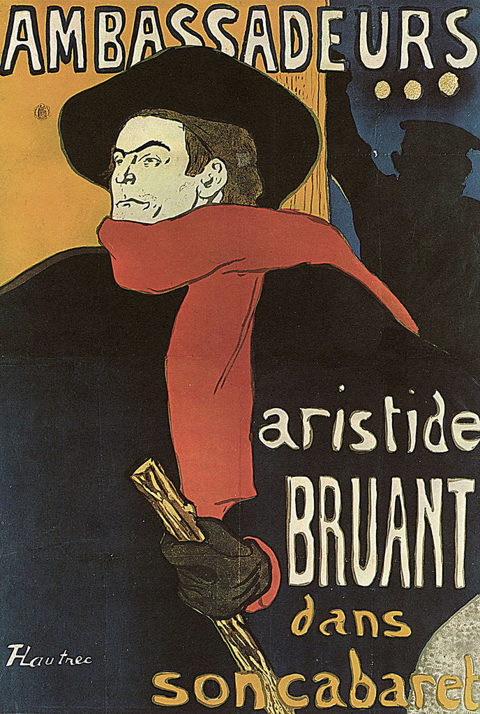 Detail of Bruant in Ambassadeurs by Henri de Toulouse-Lautrec