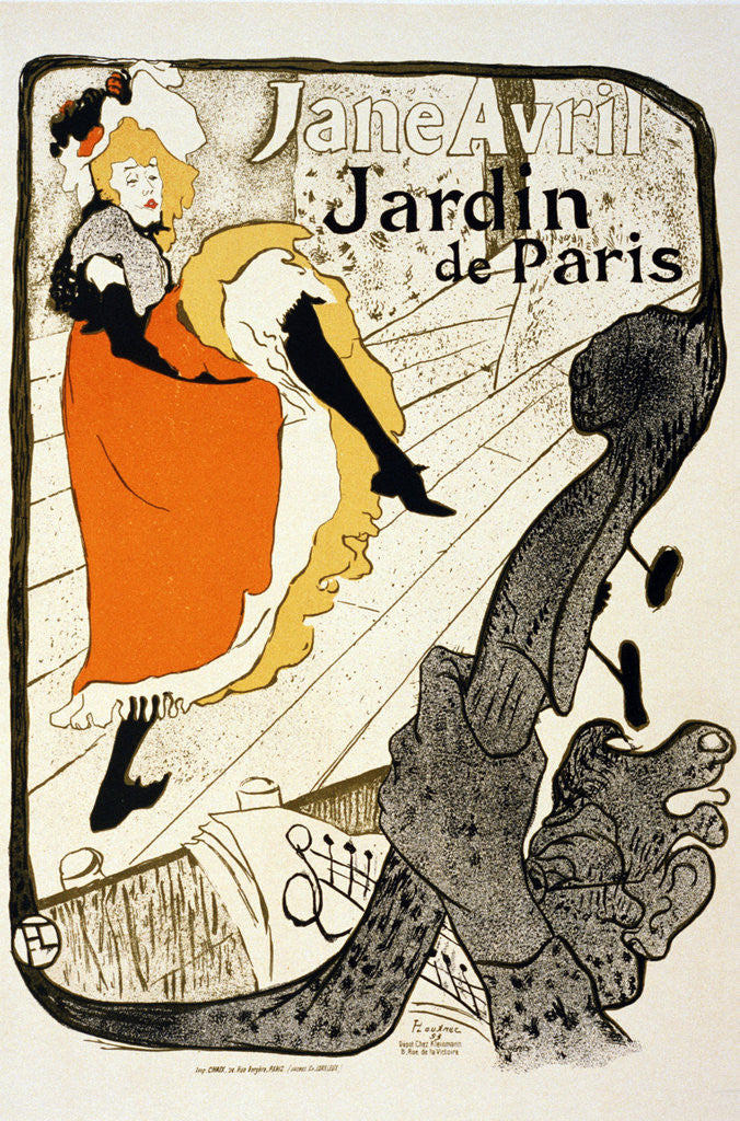 Detail of Jane Avril at the Jardin de Paris by Henri de Toulouse-Lautrec