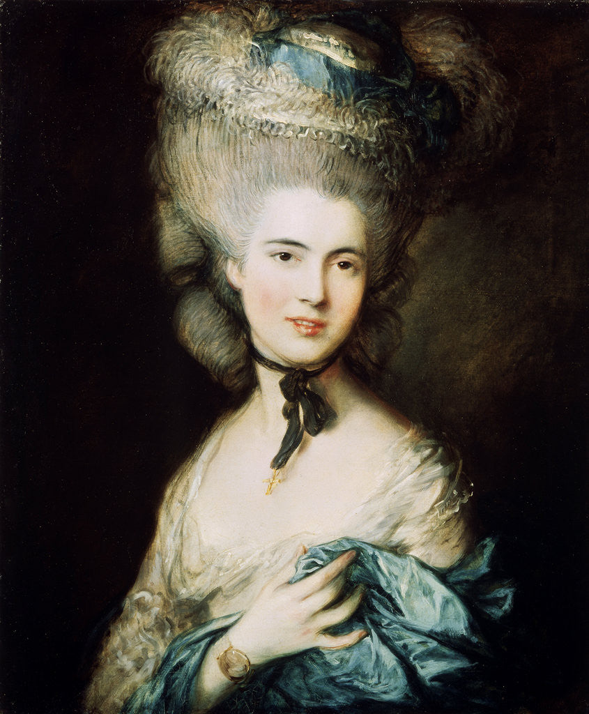 Detail of A Lady in Blue (Duchess of Beaufort) by Thomas Gainsborough