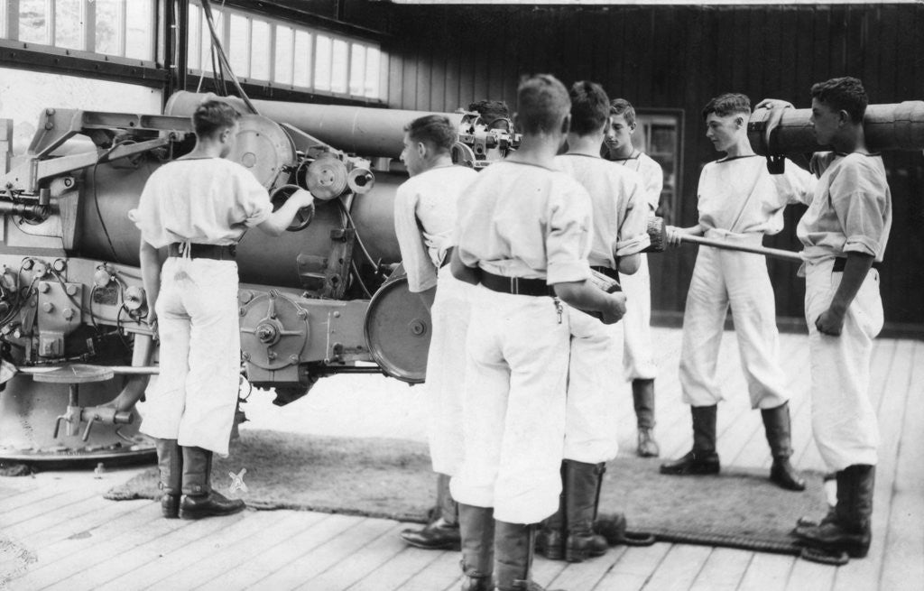 Detail of 6-inch gun drill, Royal Navy training establishment, Shotley, Suffolk by Anonymous