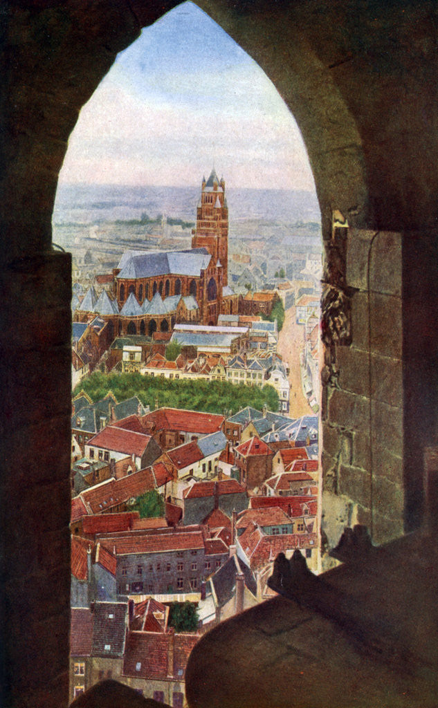 Detail of View from the belfry of Bruges, Belgium by Anonymous