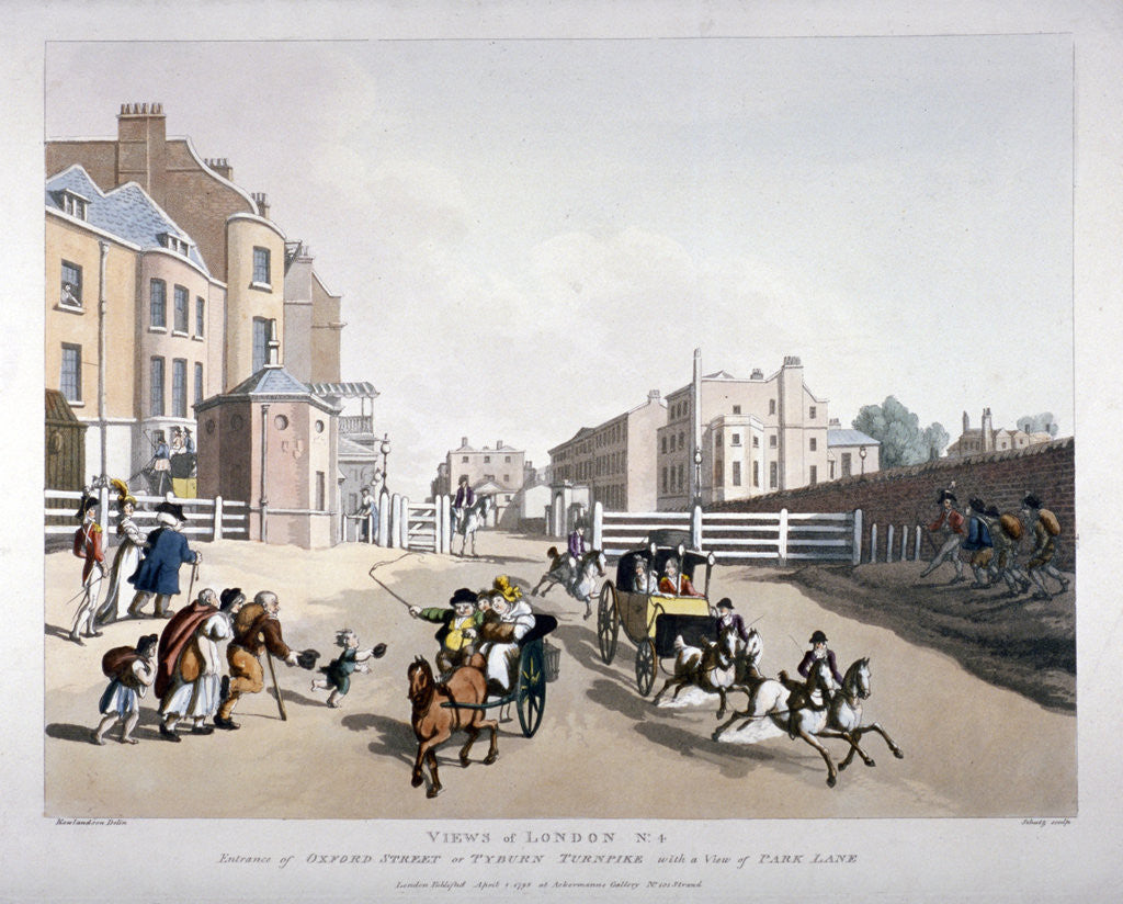 Detail of Entrance to Oxford Street at the Tyburn Turnpike, London by