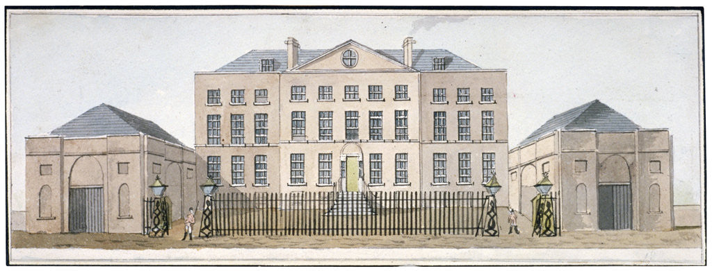 Detail of View of the Governor's house at Knightsbridge Barracks, Westminster, London by