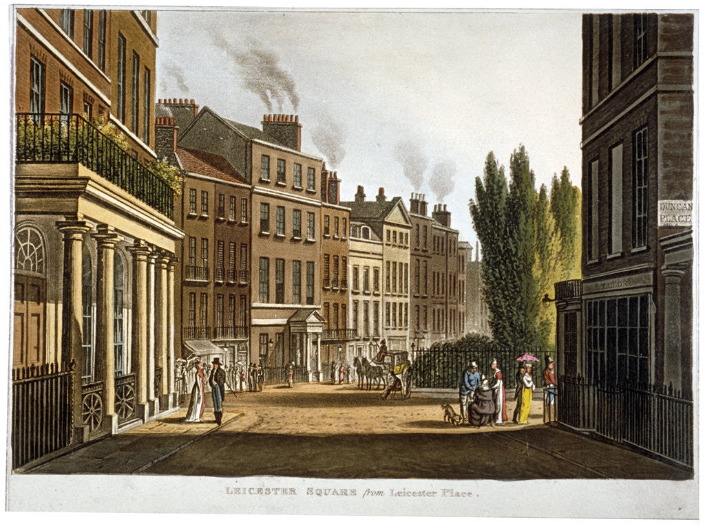Detail of View of Leicester Square from Leicester Place with figures, London by Anonymous