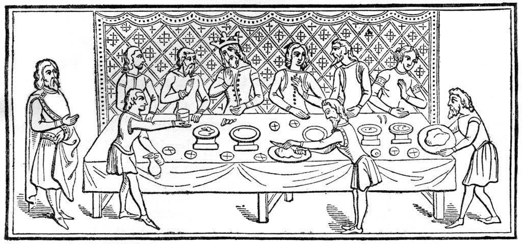 Detail of A king at dinner by Anonymous