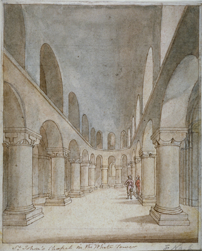 Detail of Interior view of St John's Chapel, Tower of London by Frederick Nash