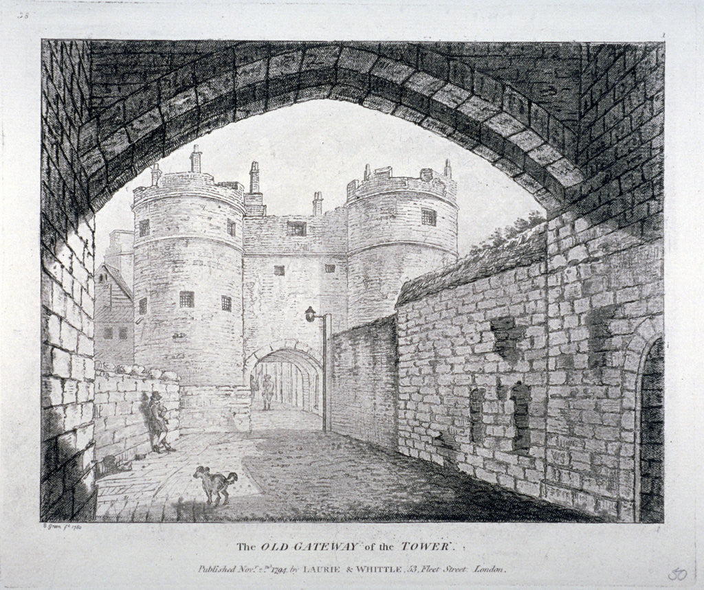Detail of View of the 'old' gateway to the Tower of London by Anonymous