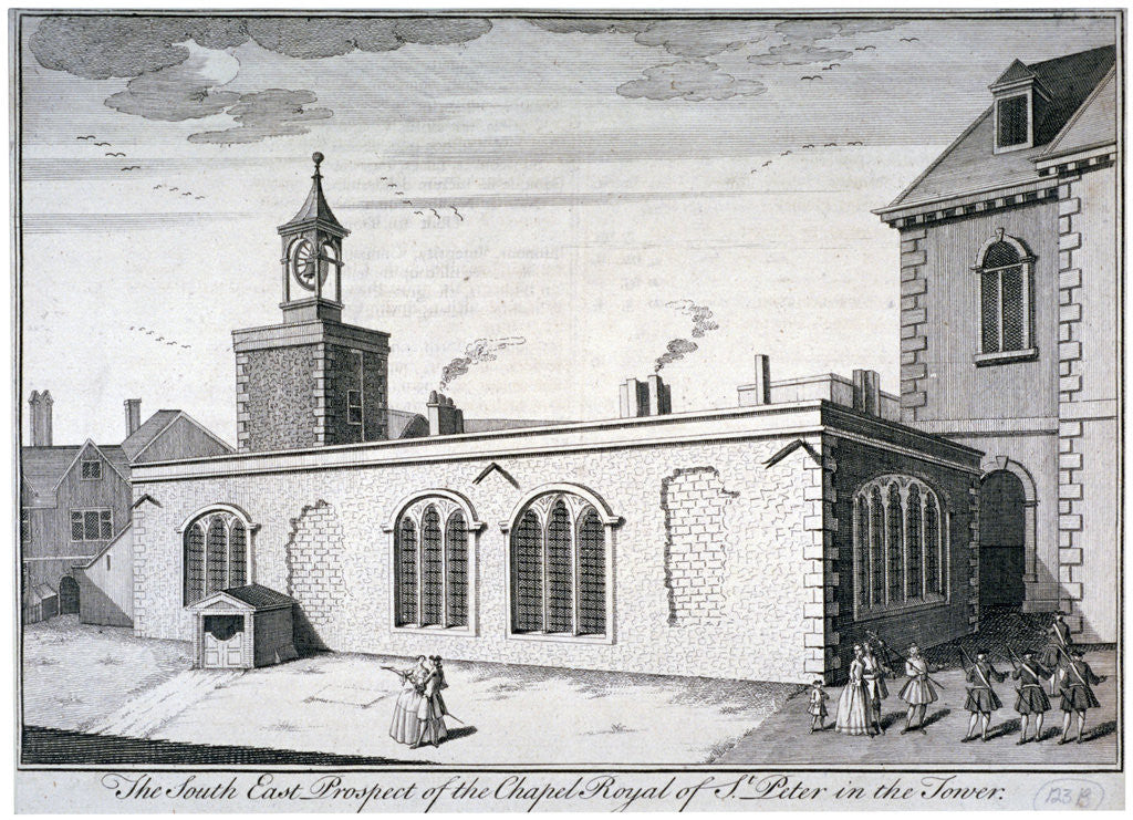 Detail of South-east view of the Chapel of St Peter ad Vincula, Tower of London by William Henry Toms
