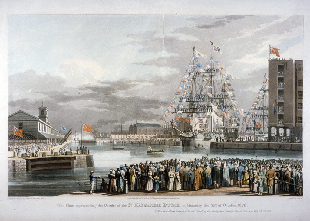 Detail of The opening of St Katharine's Dock, London by E Duncan