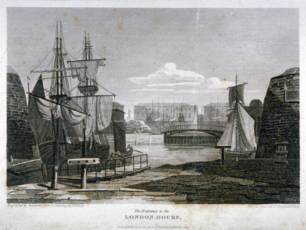 Detail of View of the entrance to London Docks, Wapping by T Matthews