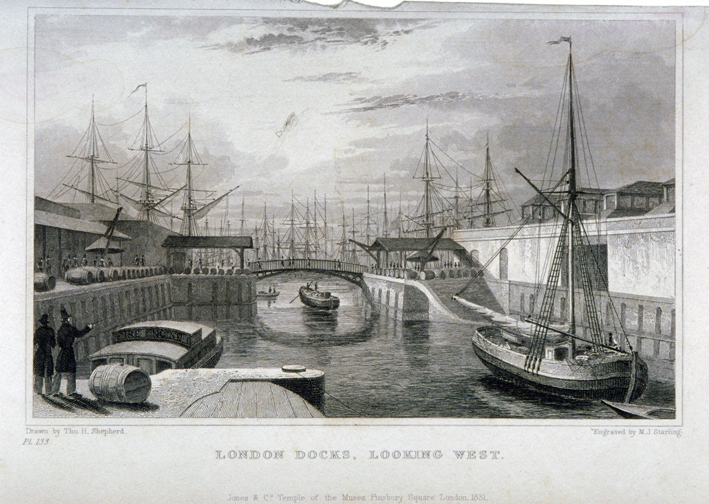 Detail of View of London Docks looking west, Wapping by MJ Starling