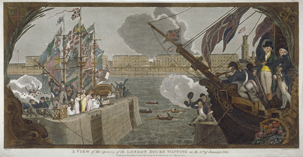 Detail of The opening of London Docks, Wapping by V Woodthorpe