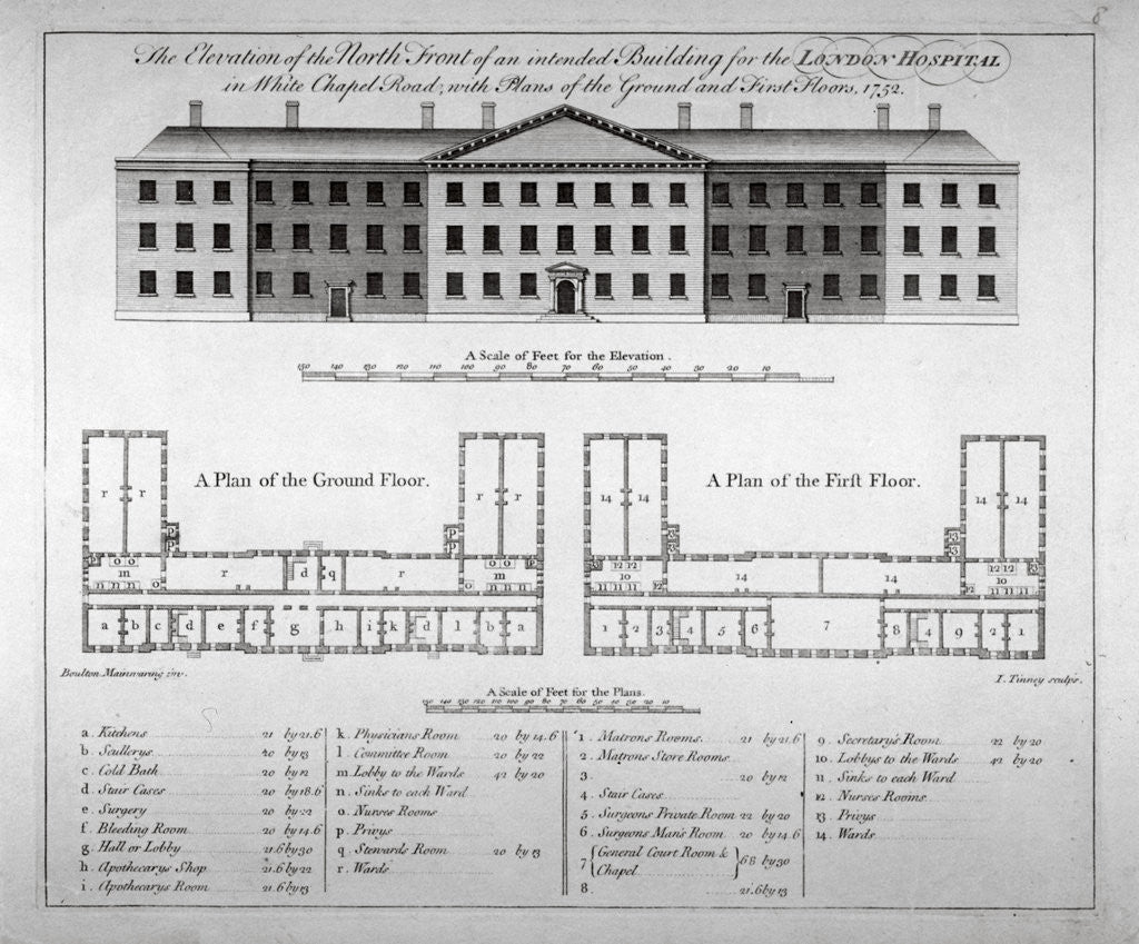 Detail of Elevation of the north front and plans of London Hospital, Whitechapel, London by