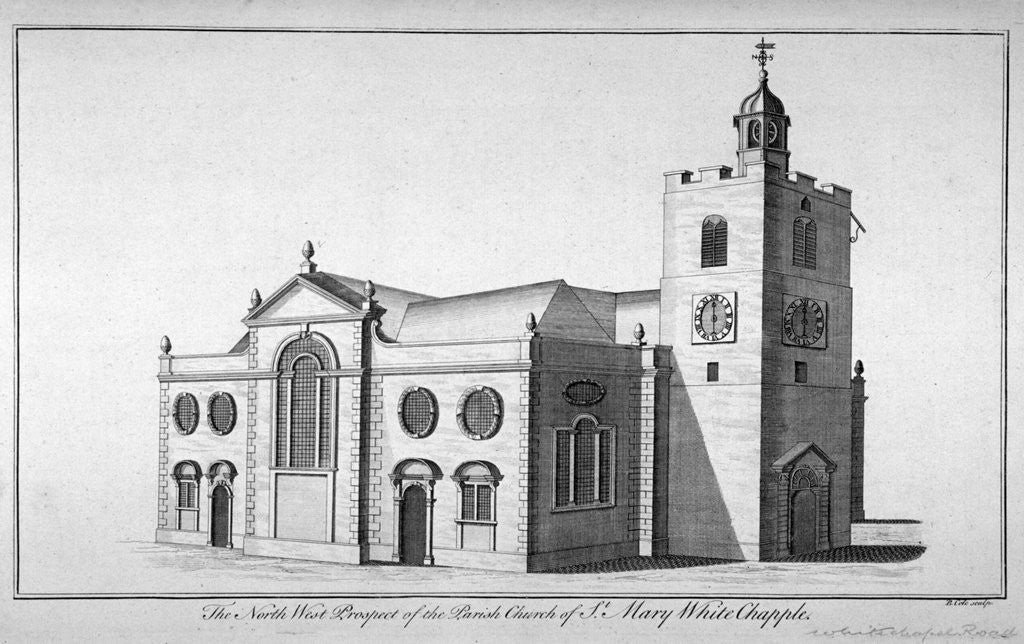 Detail of North-west view of the Church of St Mary, Whitechapel, London by Benjamin Cole