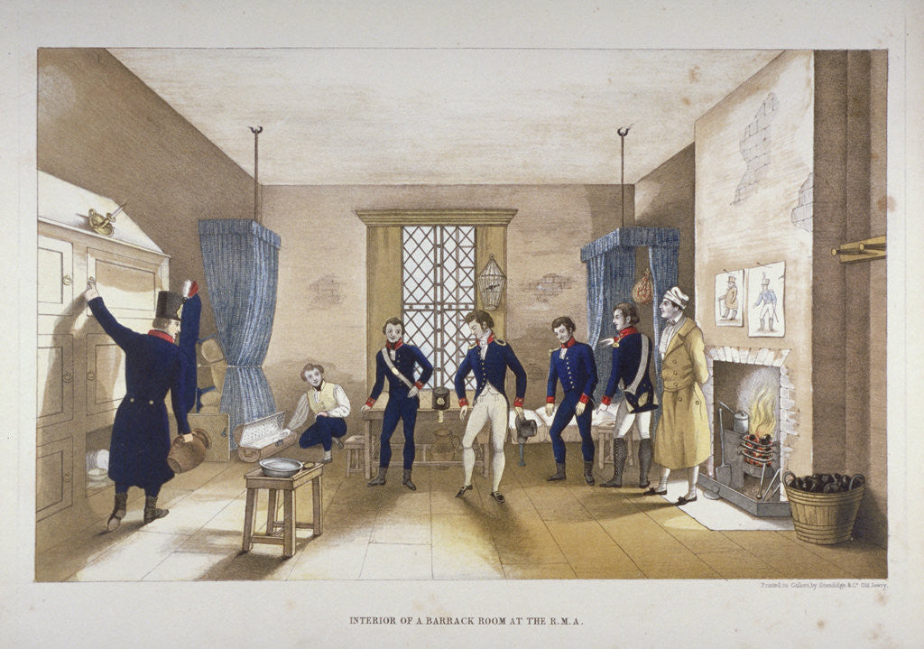 Detail of Scene in a barrack room at the Royal Military Academy, Woolwich, Kent by