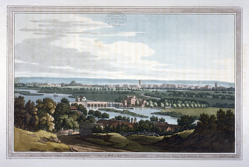 Detail of View of Reading from Caversham, Berkshire by Joseph Constantine Stadler