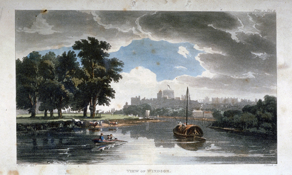 Detail of View of Windsor from the River Thames, Berkshire by J Bluck