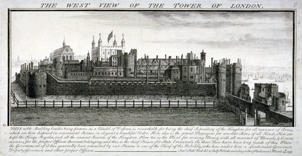 Detail of West view of the Tower of London, with a description by