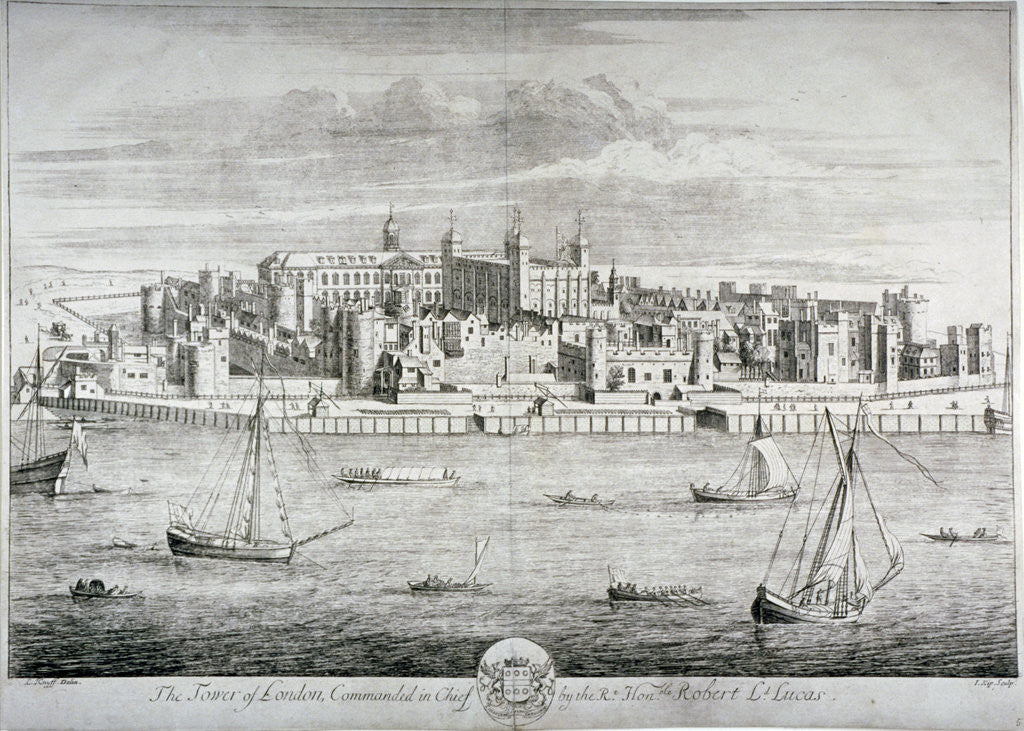 Detail of Tower of London by Johannes Kip
