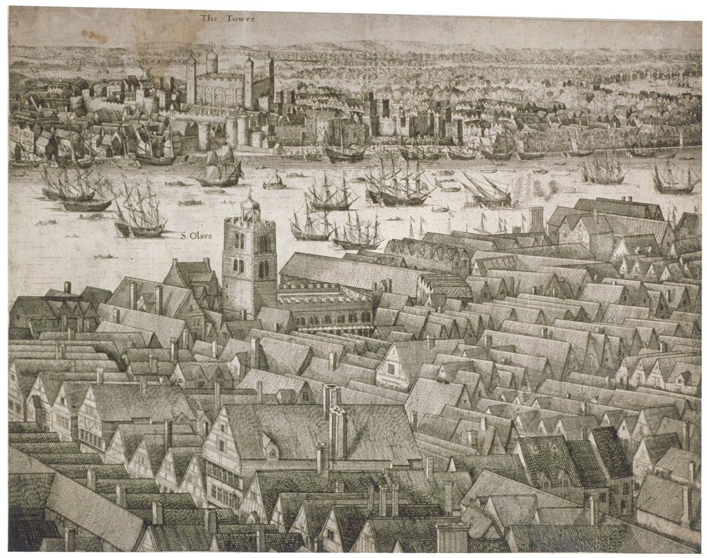 Detail of View of the Tower of London from the south with boats on the River Thames by Anonymous