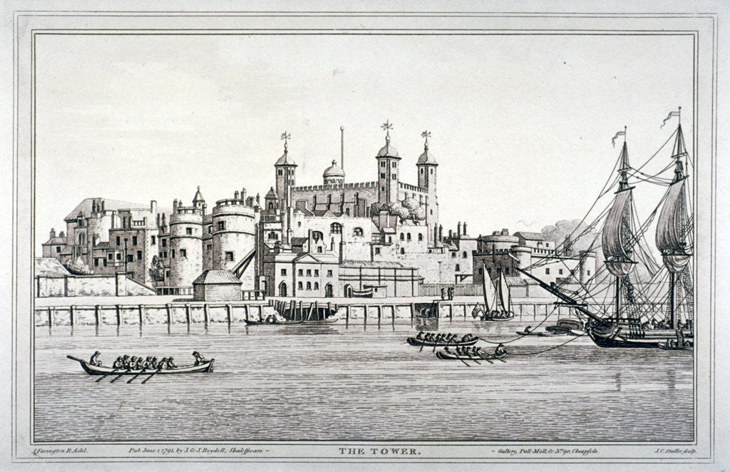 Detail of South view of the Tower of London with boats on the River Thames by