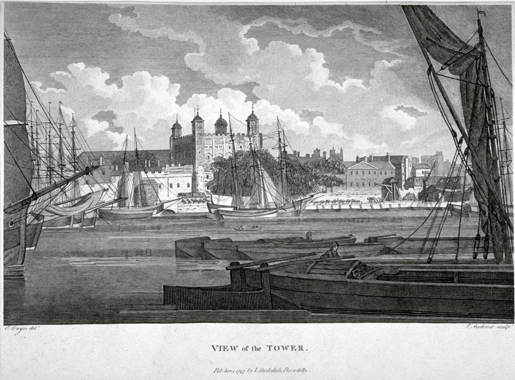 Detail of View of the Tower of London with boats on the River Thames by Philip Audinet