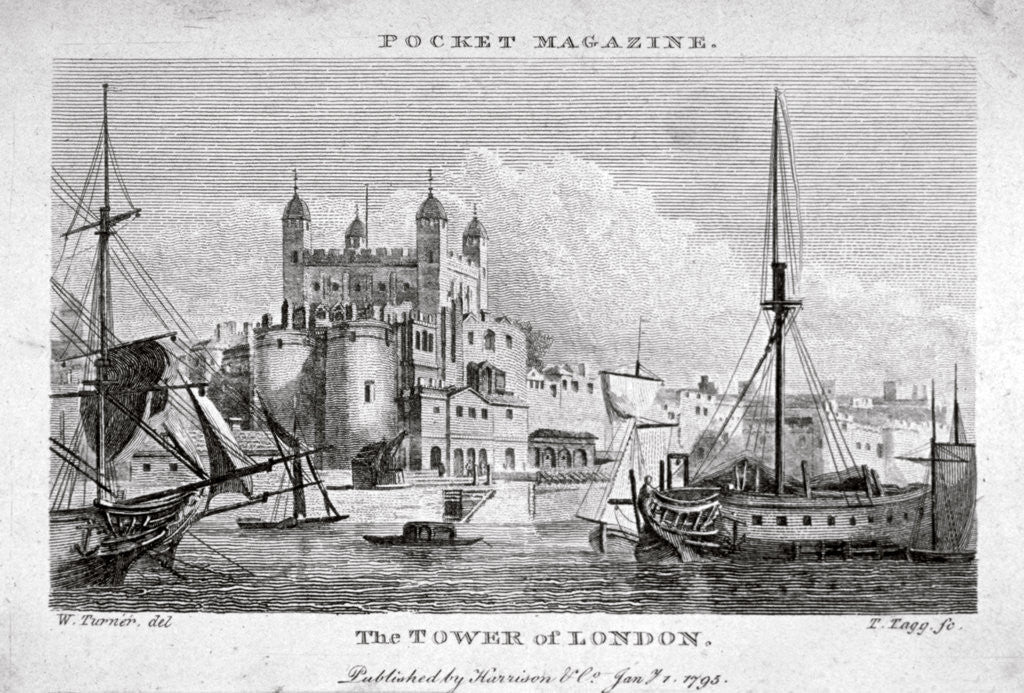 Detail of View of the Tower of London with boats on the River Thames by