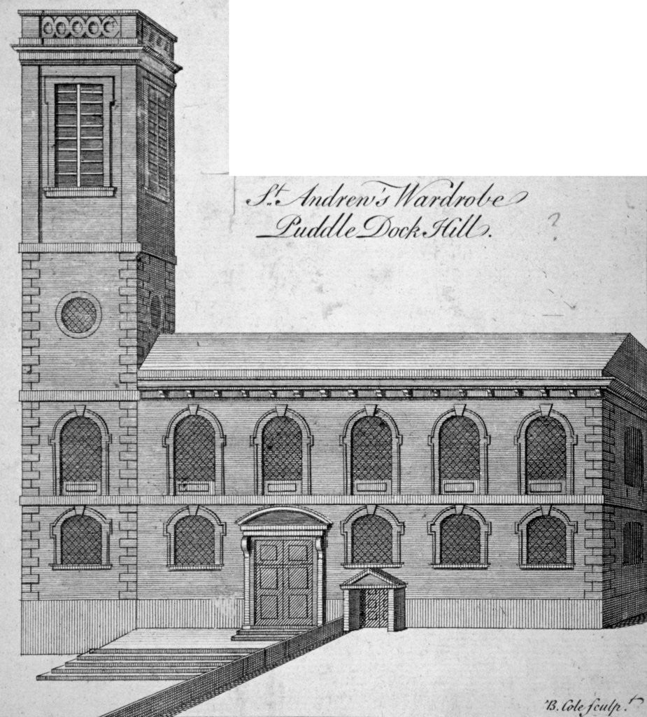 Exterior view of St Andrew by the Wardrobe, City of London by