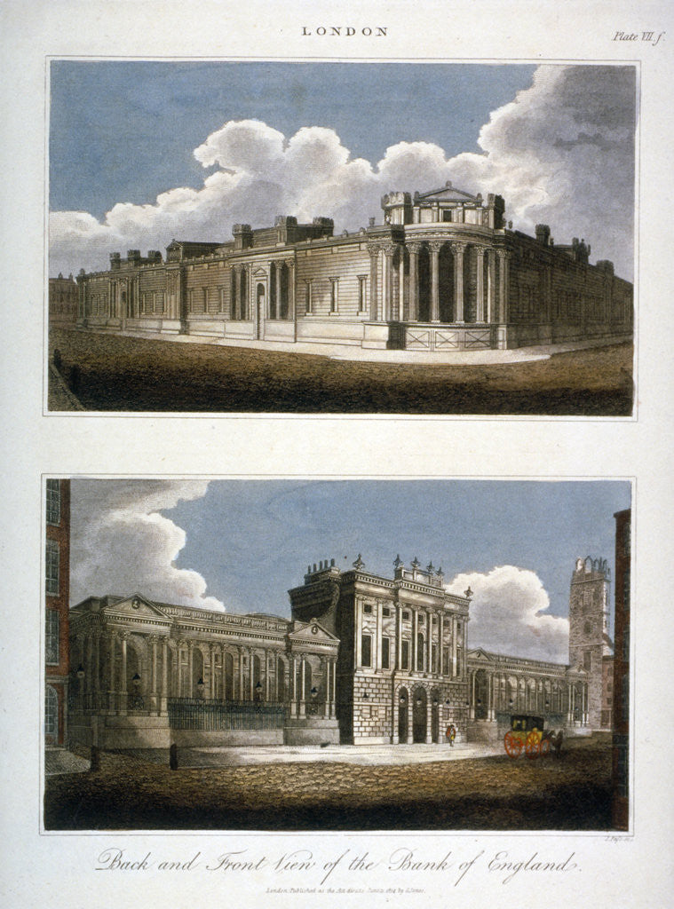 Detail of Two views of the Bank of England, City of London by J Pass