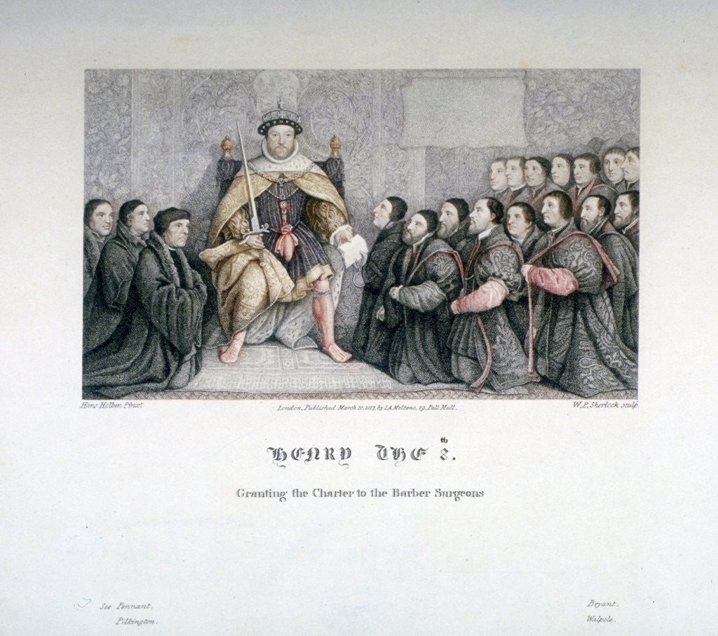Detail of Henry VIII granting the charter to the Barber Surgeons by William P Sherlock