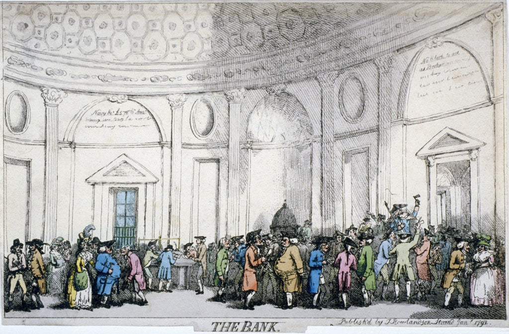 Detail of Interior view of the Bank of England, City of London by Thomas Rowlandson