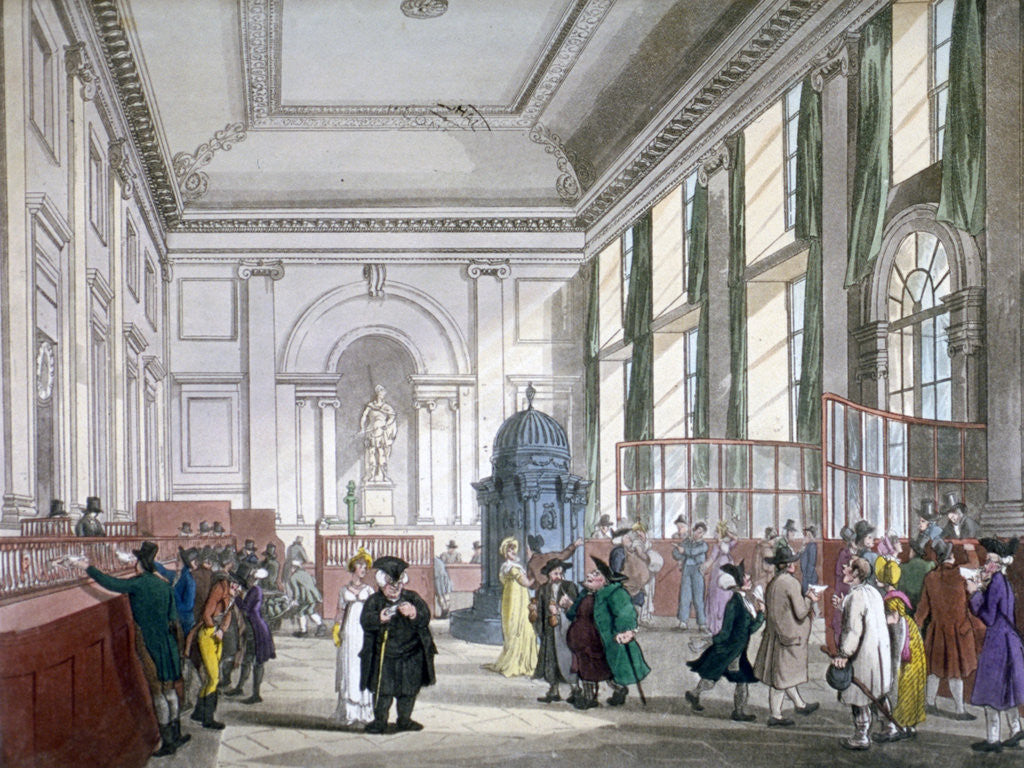 Detail of The Great Hall at Bank of England, City of London, 1809; with customers. and employees by Augustus Charles Pugin