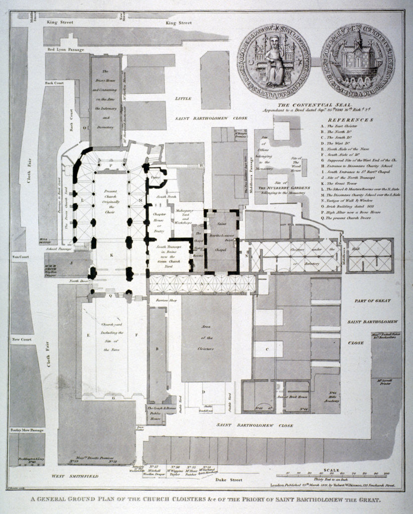 Detail of Ground plan of St Bartholomew's Priory, Smithfield, City of London by T Bourne